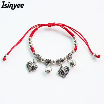 ISINYEE Fashion Heart Tree of Life Owl Charm Adjustable Ginger Snaps Bracelets For Kids Handmade Red String Rope Lucky Jewelry