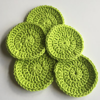 Crocheted Face Scrubbies - Bright Green, Eco-Friendly, Handmade, Face Cleansing