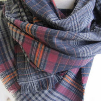 Scarf Man Fashion-Mad-Mens Scarves - 2015 2016 trends, winter FASHION scarf - Gray Burgundy Red Scarf - Wool Blend Fabric -Plaid Shawl Scarf