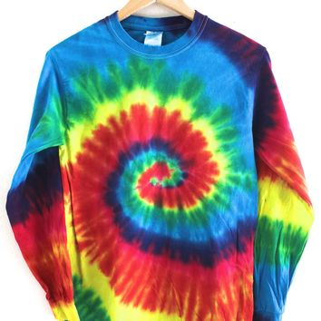 Classic Rainbow Tie-Dye Long Sleeve Tee