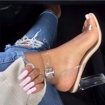 2018 new style summer shoes pumps transparent heel clear high heels sandals shoes woman high heels