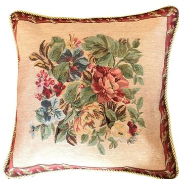 Tache 18 x18 Inch Festive Red Yuletide Blooms Cushion Covers