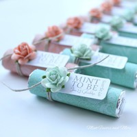 mint and peach paisley wedding favors with mint and peach roses