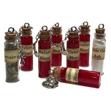 The Vampire Diaries Vampire Blood Vervain or White Oak Ash Bottle Necklace Handmade
