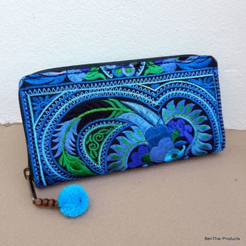 Traditional Hmong Wallets, Hmong Ethnic Bag, Embroidered Purse, Hill Tribe Bag,  Handmade Clutch Purse, Blue Wallet  WL5