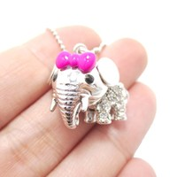 Adorable Baby Elephant With A Bow Shaped Pendant Necklace in Silver | DOTOLY