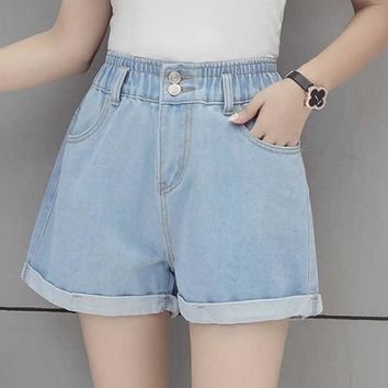 KYMAKUTU Summer Denim Shorts High Elastic Waist Womens Clothing Shorts with Pocket Solid Short Jeans All Match Bermudas Feminina
