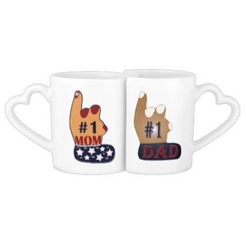 Patriotic #1 Mom & Dad Coffee Mug Set