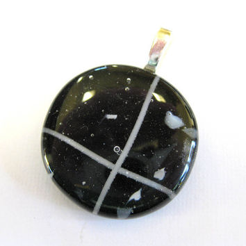 Black and White Jewelry, Fused Glass Pendant Slide - Bold Strength - by mysassyglass