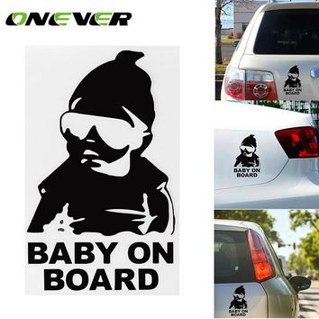 1Pcs 14CM Car Waring Sticker Lovely Baby On Board  Decal Reflective Sticker Waterproof Car Body Window Vinyl Stickers