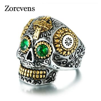 ZORCVENS 2018 New Hiphop Rock Jewelry For Men Gothic Gold Color Stainless Steel Aneis Cross Skull Ring With CZ Stone