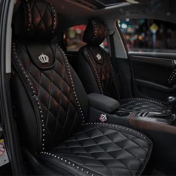 Luxury Diamond Grid Style  Genuine Leather  Front Car Seat Cover