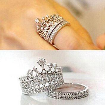 DCCKR2 Cute Girls Stylish Accessories Party Jewelry Crown Rings Crystal Silver Gold Luxury Ring Set