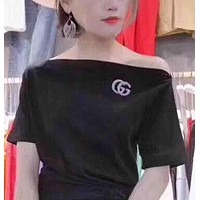 GUCCI Fashion new summer short-sleeved women shoulder strapless top t-shirt Black