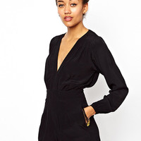 V-Neck Puff Long Sleeve Romper