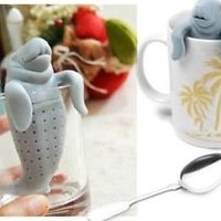 Manatee Infuser Silicone Loose Tea Leaf Strainer Herbal Spice Filter Diffuser XS