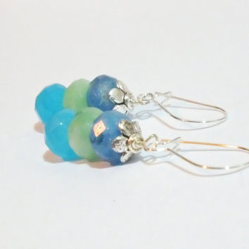 Faceted Czech Glass Rondelle Sterling Silver Earrings