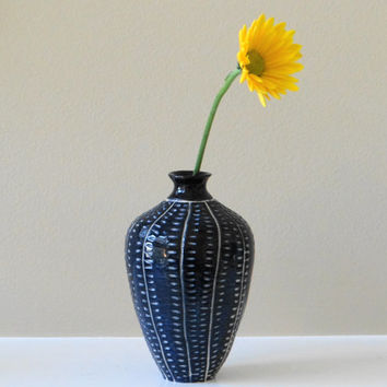 Dark blue stoneware bud vase with intricate carving, small vase, bud vase, mother's day gift, blue and white vase