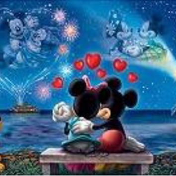 5D Diamond Painting Mickey and Minnie in the Moonlight Kit