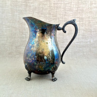 Silver Plated Water Pitcher by Leonard Silverplate / Vintage / Unpolished