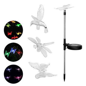 Colorful Solar LED Lawn Garden Butterfly / Dragonfly / Hummingbird Garden Stakes Lights