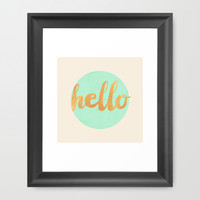 Hello - Mint & Gold Framed Art Print by Allyson Johnson