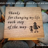 Mother of Bride gift - Wooden Music Box - Thank You Mom - Music Box Custom Song - Gift From Bride - Perfect Gift For Mom