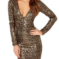 Muke Women's Low Cut V Neck Long Sleeve Sequins Party Dress Gold