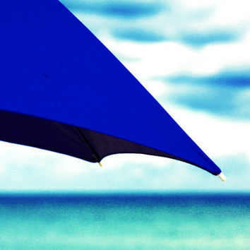 Beach Photography. Blue Beach Umbrella, Turquoise and Teal Sea and Sky ~ beach bum chix