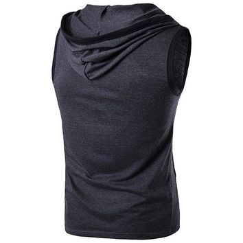 Mens Fashion Summer Sleeveless Vest Hooded Sport Cotton Tank Tops