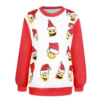 ONETOW Women's Fashion Christmas Hot Sale Hats Print Ugly Christmas Sweater Hoodies [9440720132]