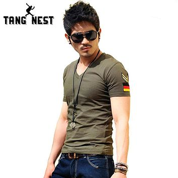 Casual Men T-shirt V neck Men T-shirt High Quality Fashion Men's Top Tee 8 Colors