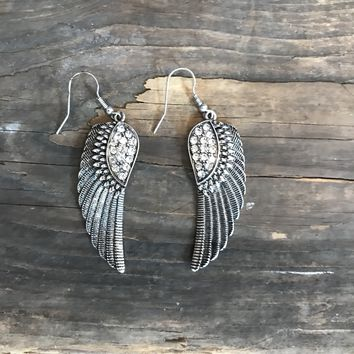 Rhinestone Wing Earrings- two finishes