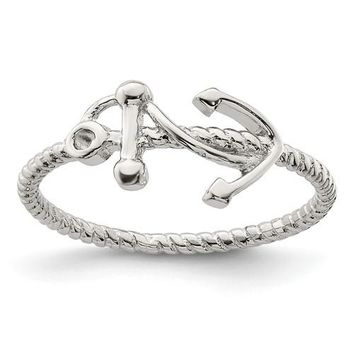 Sterling Silver Twisted Rope Anchor Ring