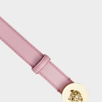 Versace Calf Leather Round Medusa Belt for Women | US Online Store