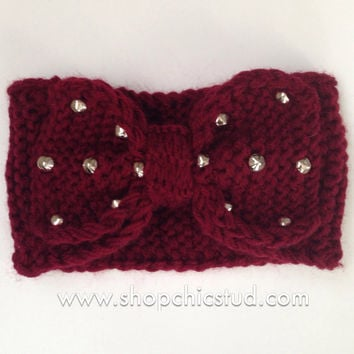 Studded Headband - Crochet Knit Bow - Black or Burgundy Headband - Silver or Gold Studs