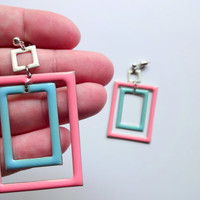Vintage Geometric Dangle Earrings 1980s