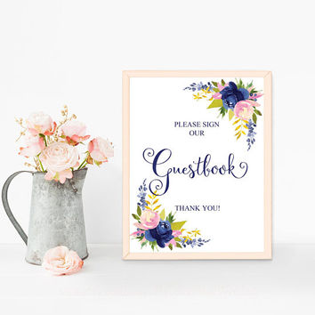 Wedding guestbook sign printable, Guest book sign, Party guest book sign, Please sign our guestbook sign, Navy blue guestbook sign download