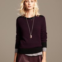 Banana Republic Textured Colorblock Crew Pullover