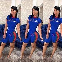 GUCCI Hot Sale Women Casual Print Shorts Sleeve Top Shorts Set Two-Piece Blue