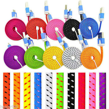 Colorful 1M 2M Flat Braided Fabic Woven Micro USB Data Sync Charger Cable For Samsung Galaxy S5 S6 S7 Note HTC Android phone