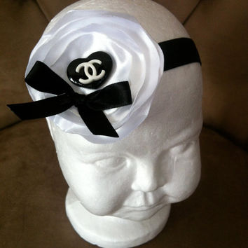 Chanel inspired baby headband, White satin camelia with chanel logo for baby, infant and toddler