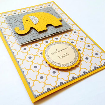 Baby Shower Card, Handmade Greeting Card, Cute baby elephant, neutral baby gift, gold silver glitter, new baby boy girl, yellow and gray
