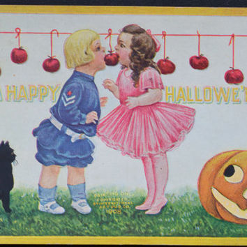 Halloween Postcard, Artist Bernhardt Wall, Happy Halloween, Children Apple Bobbing Game, Halloween Ephemera