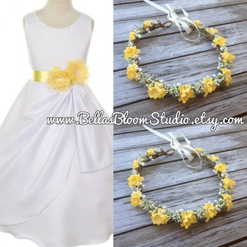 Baby Breath Crown Halo Dry baby breath crown Yellow floral crown Baby Breath hair Yellow flower crown rustic yellow crown Woodland crown