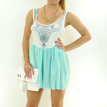 (ans) Sweet embroidered pleated aqua romper
