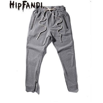 HIPFANDI Newest Fashion Joggers Korean Mens Urban Clothing Gray Kanye West Justin Bieber Zipper Pants Mens Fear Of God Pants