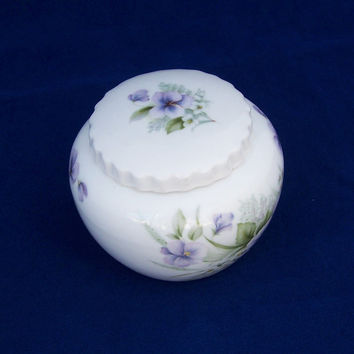Vintage Bone China Lidded Trinket box, Trinket Box by Ashley Down, Pastel Decoration, UK Seller