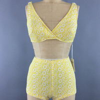 Vintage Itsy Bitsy Teeny Weeny Yellow Polka Dot Bikini Swimsuit / 1960s Swim Suit