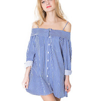 Striped Off Shoulder Long Sleeve A-Line Mini Dress
